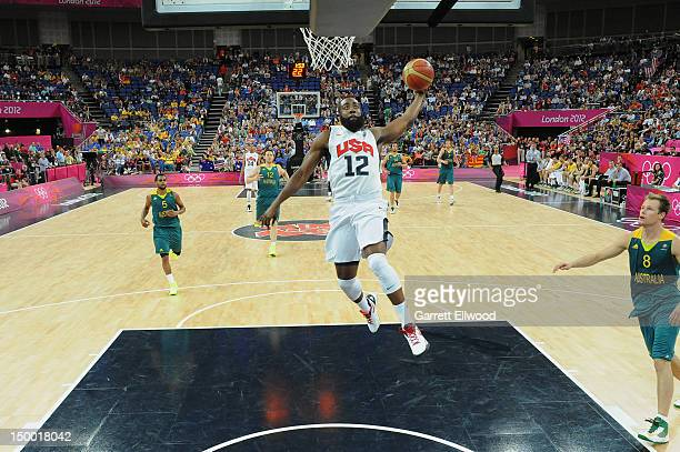 James Harden of the US Men's Senior National Team dunks against Australia during their Basketball Game on Day 12 of the London 2012 Olympic Games at...