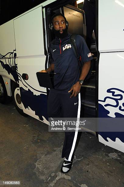 James Harden of the US Men's Senior National Team exits the bus before a game against the Argentinean Men's Senior National Team at Palau Sant Jordi...