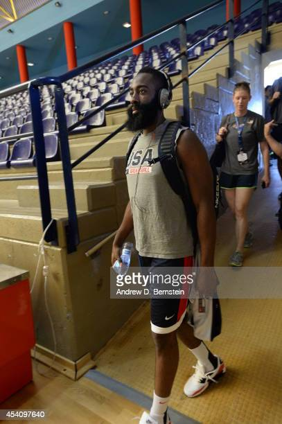 James Harden of the USA Basketball Men's National Team arrives to practice on August 24 2014 at Pabellon de El Tablero Practice Facility in El...