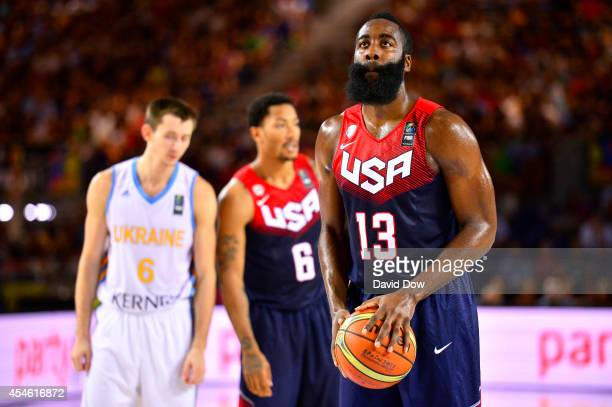 James Harden of the USA Basketball Men's National Team shoots a free throw against of the Ukraine Basketball Team during the FIBA 2014 World Cup...