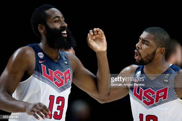 James Harden of the USA celebrates scoring with teammate Kyrie Irving during the 2014 FIBA World Basketball Championship final match between USA and...