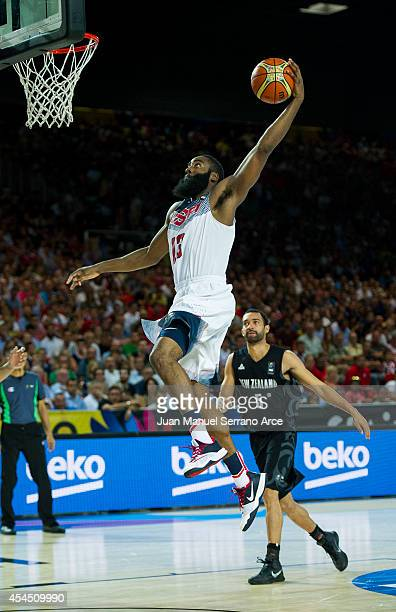 James Harden of the USA in action against New Zealand during their game at the BILBOA Exhibition Center on September 2 2014 in Bilboa Spain