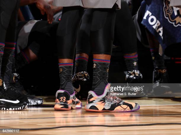 James Harden of the Western Conference AllStars sneakers during the NBA AllStar Game as part of the 2017 NBA All Star Weekend on February 19 2017 at...