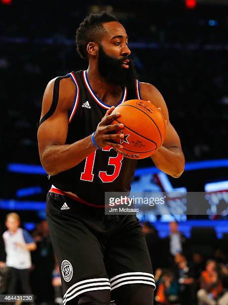 James Harden of the Western Conference in action against the Eastern Conference during the 2015 NBA AllStar Game at Madison Square Garden on February...