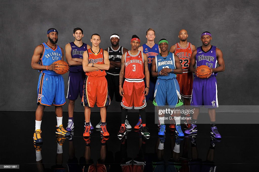James Harden, Omri Casspi, Stephen Curry, DeJuan Blair, Brandon Jennings, Jonas Jerebko, Jonny Flynn, Taj Gibson and Tyreke Evans of the Rookie Team pose for a portait prior to the T-Mobile Rookie Challenge and Youth Jam on February 12, 2010 at the American Airlines Center in Dallas, Texas.
