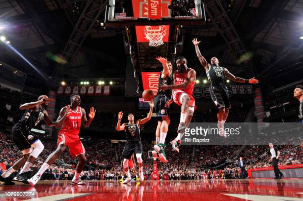 James Harden passes the ball to Clint Capela of the Houston Rockets on January 9, 2019 at the Toyota Center in Houston, Texas. NOTE TO USER: User...