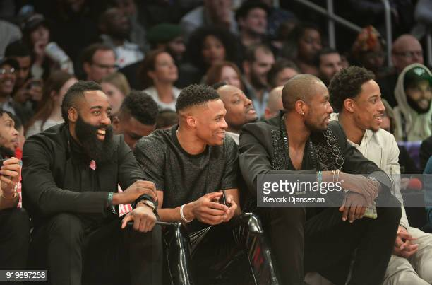 James Harden Russell Westbrook Serge Ibaka and DeMar Derozan attend the 2018 Verizon Slam Dunk Contest at Staples Center on February 17 2018 in Los...