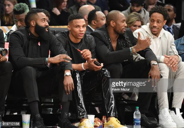 James Harden Russell Westbrook Serge Ibaka and DeMar Derozan attend the 2018 State Farm AllStar Saturday Night at Staples Center on February 17 2018...