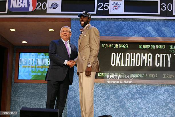 James Harden shakes hands with NBA Commissioner David Stern after being selected third by the Oklahoma Thunder during the 2009 NBA Draft on June 25...