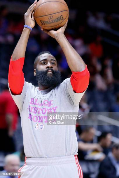 James Harden warms up before the game against the LA Clippers on February 11 2015 at the STAPLES Center in Los Angeles California NOTE TO USER User...