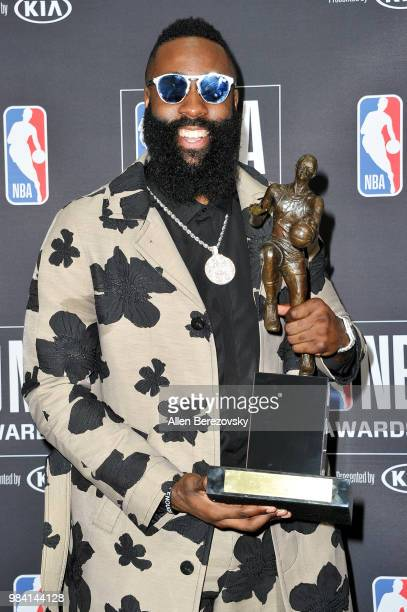 James Harden winner of the 20172018 MVP award poses in the backstage photo room during the 2018 NBA Awards at Barker Hangar on June 25 2018 in Santa...