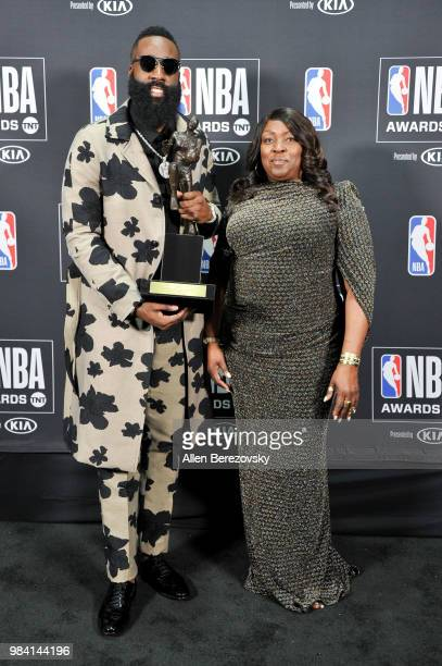 James Harden winner of the 20172018 MVP award poses with his mom Monja Willis in the backstage photo room during the 2018 NBA Awards at Barker Hangar...