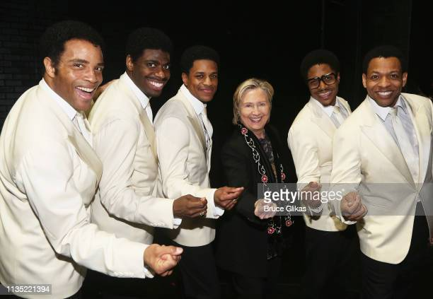 James Harkness Jawan M Jackson Jeremy Pope Hillary Clinton Ephraim Sykes and Derrick Baskin pose backstage at the hit musical Ain't Too Proud To Beg...