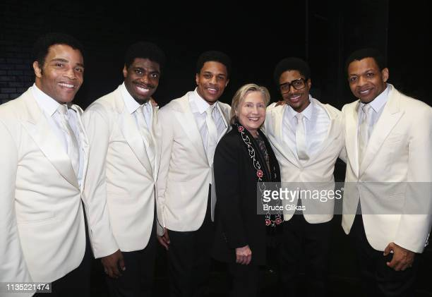 """James Harkness, Jawan M. Jackson, Jeremy Pope, Hillary Clinton, Ephraim Sykes and Derrick Baskin pose backstage at the hit musical """"Ain't Too Proud..."""
