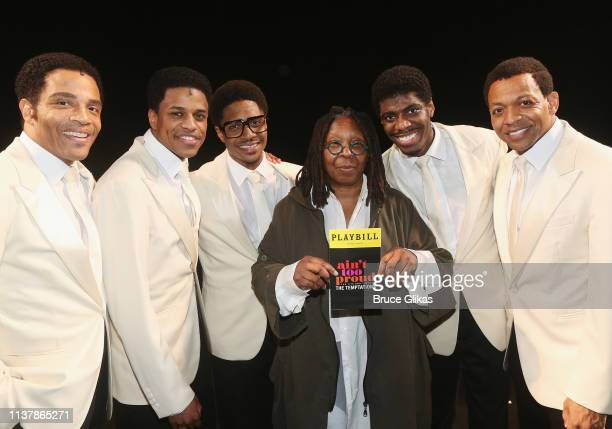 James Harkness Jeremy Pope Ephraim Sykes Whoopi Goldberg Jawan M Jackson and Derrick Baskin pose backstage at the new hit musical Ain't Too Proud The...