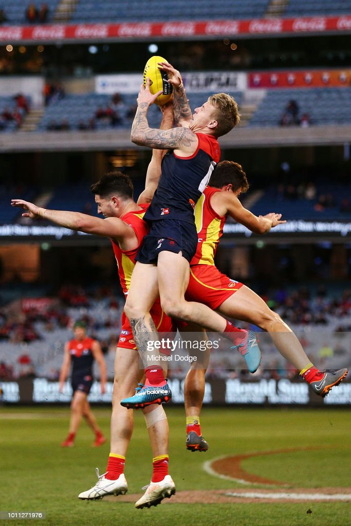 James Harmes of the Demons competes for the ball during the round 20 AFL match between the Melbourne Demons and the Gold Coast Suns at Melbourne Cricket Ground on August 5, 2018 in Melbourne, Australia.