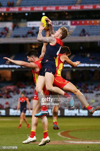 James Harmes of the Demons competes for the ball during the round 20 AFL match between the Melbourne Demons and the Gold Coast Suns at Melbourne...