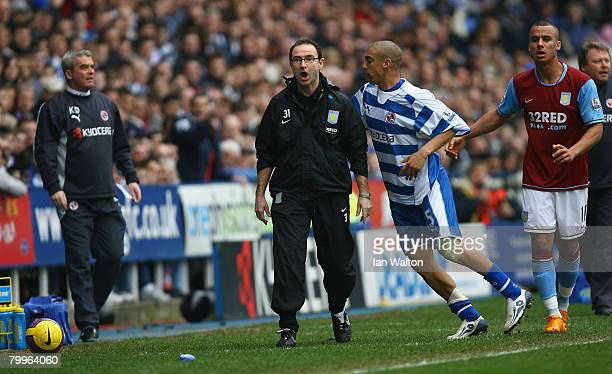 James Harper of Reading and Aston Villa manager Martin O'Neill during the Barclays Premier League match between Reading and Aston Villa at the...