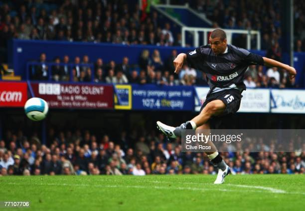 James Harper of Reading scores during the Barclays Premier League match between Portsmouth and Reading at Fratton Park on September 29, 2007 in...