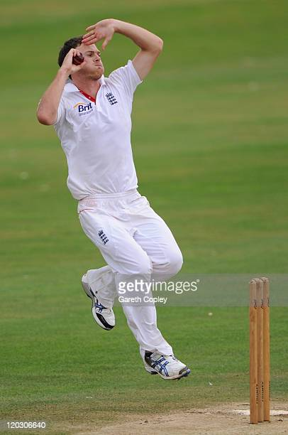 James Harris of England Lions bowls during day three of the tour match between England Lions and Sri Lanka A at North Marine Road on August 4 2011 in...