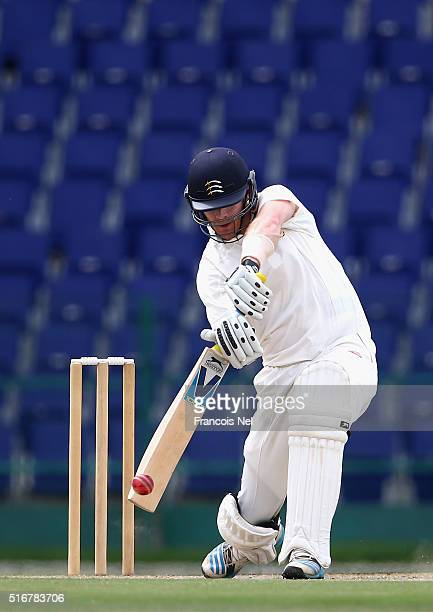 James Harris of MCC bats during day two of the Champion County match between Marylebone Cricket Club and Yorkshire at Sheikh Zayed stadium on March...