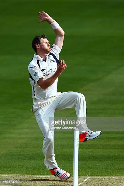 James Harris of Middlesex bowls during day one of the LV County Championship Division One match between Middlesex and Nottinghamshire at Lord's...
