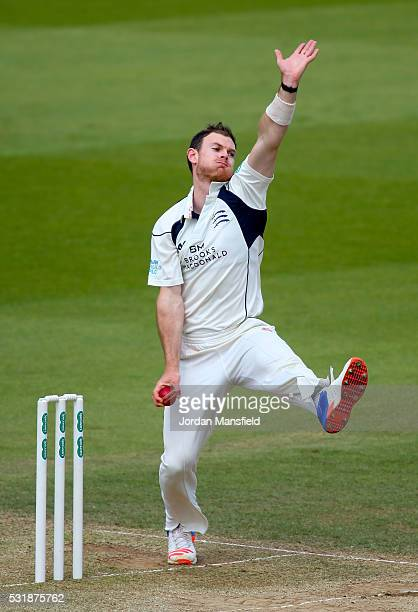 James Harris of Middlesex bowls during day three of the Specsavers County Championship Division One match between Surrey and Middlesex on May 17 2016...