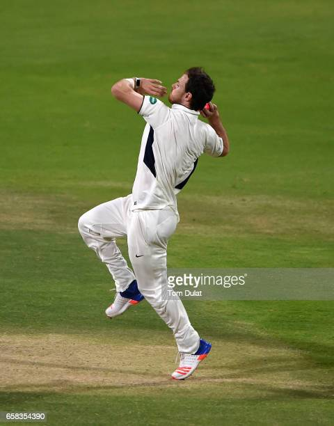 James Harris of Middlesex bowls during day two of the Champion County match between Marylebone Cricket Club and Middlesex at Sheikh Zayed stadium on...