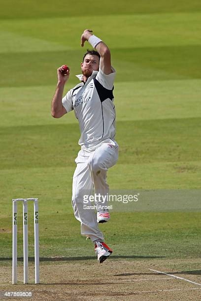 James Harris of Middlesex bowls during the LV County Championship match between Middlesex and Yorkshire at Lord's Cricket Ground on September 12 2015...