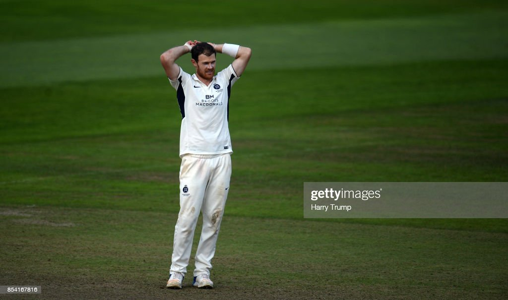 James Harris of Middlesex cuts a dejected figure during Day Two of the Specsavers County Championship Division One match between Somerset and Middlesex at The Cooper Associates County Ground on September 26, 2017 in Taunton, England.