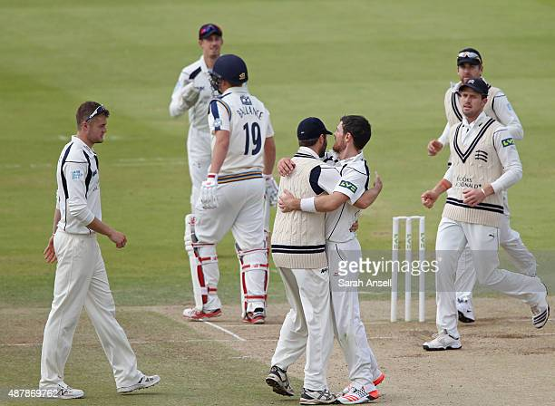 James Harris  of Middlesex is congratulated by team mates after dismissing Gary Ballance of Yorkshire during the LV County Championship match between...