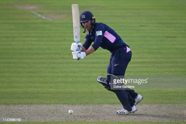 James Harris of Middlesex plays a shot during the Royal London One Day Cup Quarter Final match between Middlesex and Lancashire at Lords Cricket...