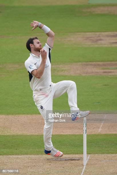 James Harris of Middlesex runs in to bowl during the Specsavers County Championship Division One match between Warwickshire and Middlesex at...