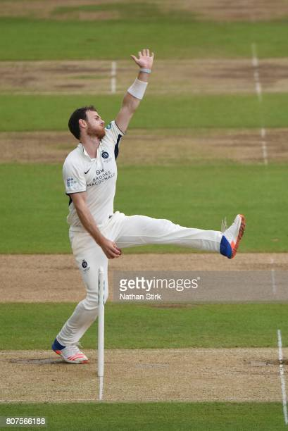 James Harris of Middlesex runs into bowl during the Specsavers County Championship Division One match between Warwickshire and Middlesex at Edgbaston...