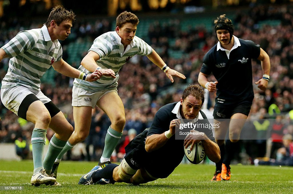 James Harris of Oxford scores a try during the Varsity Match between Oxford University and Cambridge University at Twickenham Stadium on December 6, 2012 in London, England.