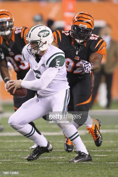 James Harrison of the Cincinnati Bengals makes the tackle on Matt Simms of the New York Jets during their game at Paul Brown Stadium on October 27...