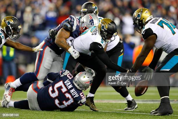 James Harrison of the New England Patriots hits Blake Bortles of the Jacksonville Jaguars as he fumbles in the second half during the AFC...