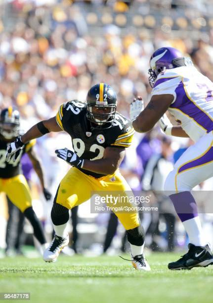 James Harrison of the Pittsburgh Steelers defends against the Minnesota Vikings at Heinz Field on October 25 2009 in Pittsburgh Pennsylvania The...
