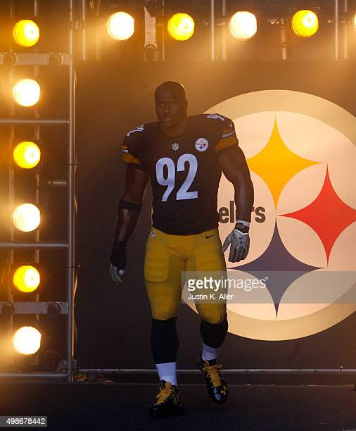 James Harrison of the Pittsburgh Steelers in action during the game against the Oakland Raiders on November 8 2015 at Heinz Field in Pittsburgh...
