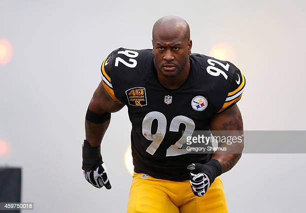 James Harrison of the Pittsburgh Steelers is introduced prior to the game against the New Orleans Saints at Heinz Field on November 30 2014 in...