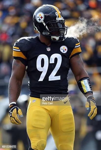 James Harrison of the Pittsburgh Steelers is seen on the field after a play during the first quarter against the Miami Dolphins in the AFC Wild Card...
