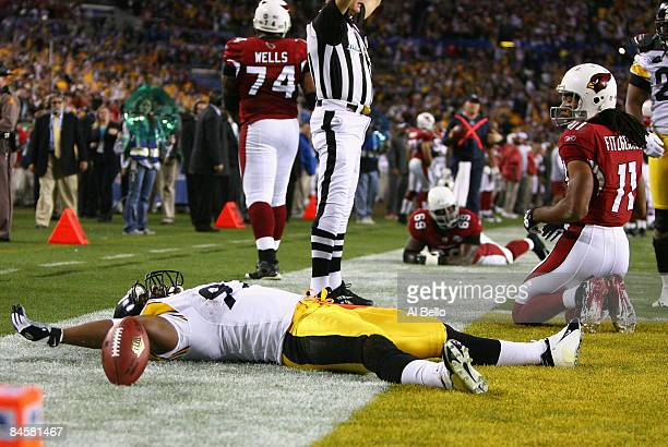James Harrison of the Pittsburgh Steelers reacts after scoring a touchdown on an 100 yards interception return in the second quarter as Larry...