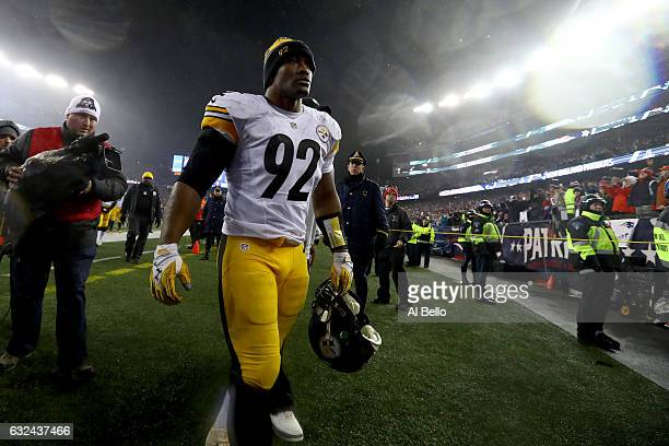 James Harrison of the Pittsburgh Steelers walks off the field after the New England Patriots defeated the Pittsburgh Steelers 3617 to win the AFC...
