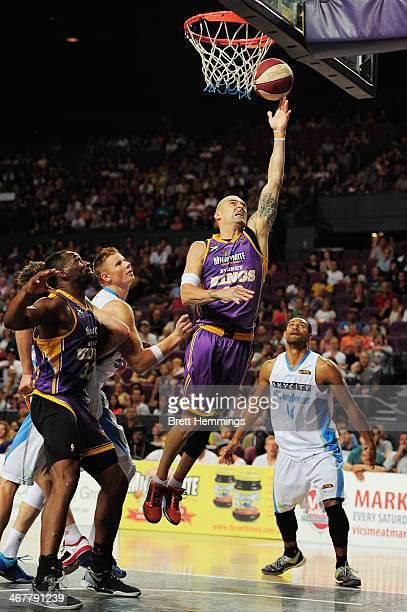 James Harvey of the Kings drives towards the basket during the round 17 NBL match between the Sydney Kings and the New Zealand Breakers at Sydney...