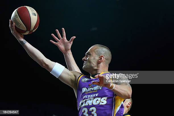 James Harvey of the Kings lays the ball up during the round one NBL match between the Sydney Kings and the Melbourne Tigers at Sydney Entertainment...