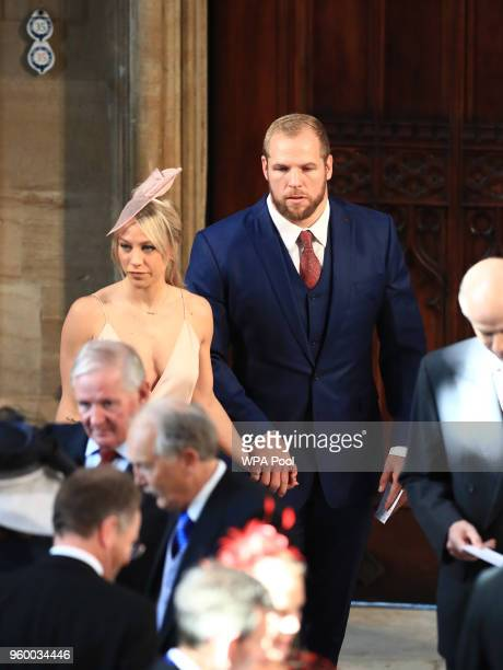 James Haskell and Chloe Madeley arrive at St George's Chapel at Windsor Castle for the wedding of Prince Harry to Meghan Markle on May 19 2018 in...