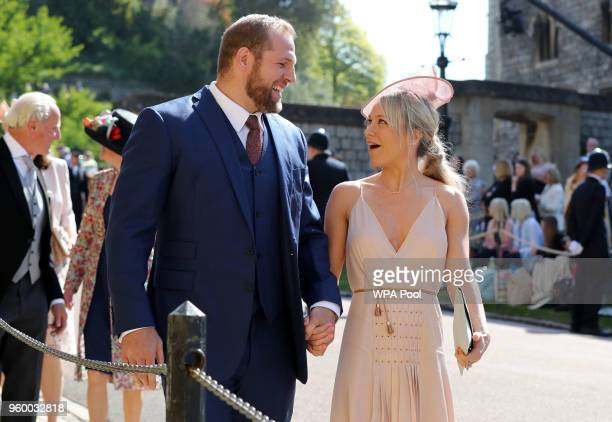 James Haskell and Chloe Madeley arrive at St George's Chapel at Windsor Castle before the wedding of Prince Harry to Meghan Markle on May 19 2018 in...