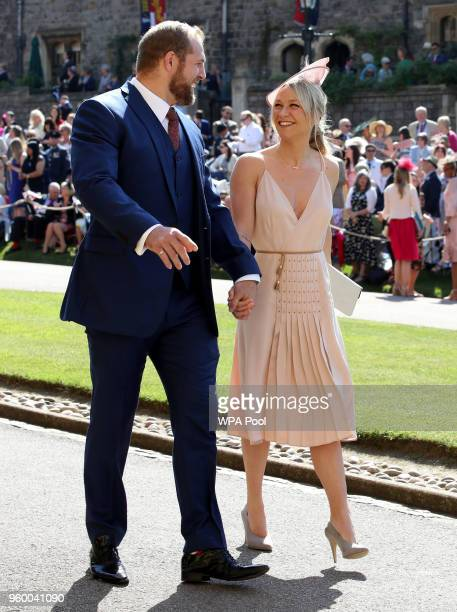 James Haskell and Chloe Madeley arrive for the wedding ceremony of Britain's Prince Harry and US actress Meghan Markle at St George's Chapel Windsor...