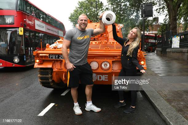 James Haskell and Chloe Madeley pose with the Grenade® tank on August 05, 2019 in London, England.