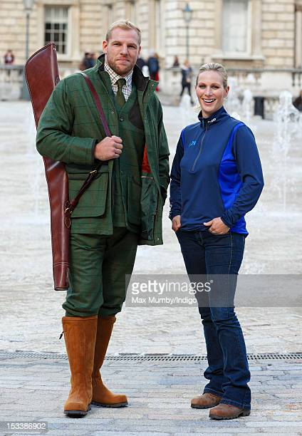 James Haskell and Zara Phillips attend the Musto: By Royal Appointment clothing range press event at Somerset House on October 4, 2012 in London,...